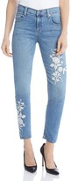 Karen Kane Embroidered Skinny Ankle Jeans in Light Blue