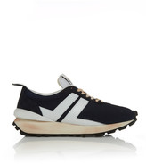 Lanvin Distressed Leather and Mesh-Trimmed Suede Sneakers