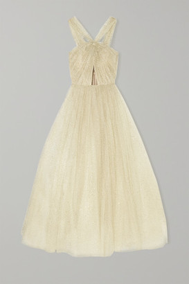 Monique Lhuillier Cutout Glittered Tulle Gown - Ivory