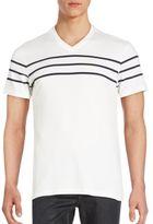 Saks Fifth Avenue BLACK Pima Cotton Striped T-Shirt