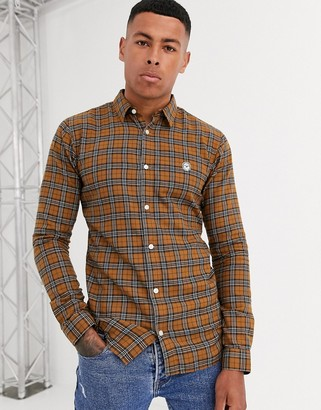 Le Breve slim fit checked shirt-Yellow