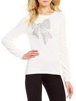 Daniel Cremieux Bee Embellished Bow Pullover Knit Sweater