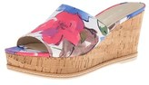 Franco Sarto Womens Caty Fabric Open Toe Casual, Blue Floral, Size 9.0.