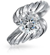 Bling Jewelry 925 Sterling Silver CZ Classic Cable Engagement Ring