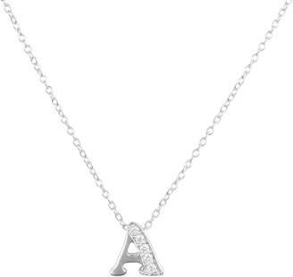 Latelita Diamond Initial Letter Pendant Necklace Silver A