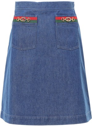 Gucci A-Line Web Detail Denim Skirt