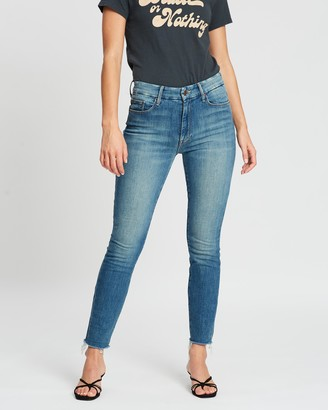 Mother High-Waisted Looker Ankle Fray Jeans
