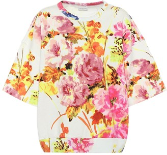 Dries Van Noten Floral cotton short-sleeve sweatshirt