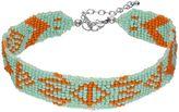 Aqua Seed Bead Tribal Choker Necklace