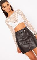 PrettyLittleThing Black Faux Leather Biker Belted Mini Skirt