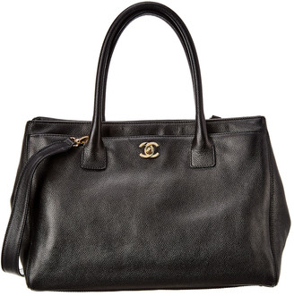Chanel Black Calfskin Leather Cerf Shopper Tote