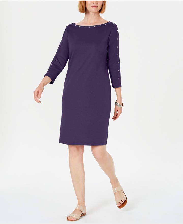 Karen Scott Cotton Studded 3/4-Sleeve Shift Dress