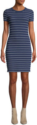 MICHAEL Michael Kors Crewneck Tipped Scallop Short-Sleeve Dress