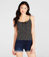 Aeropostale Womens Striped Lace-Up Tank Shirt Black