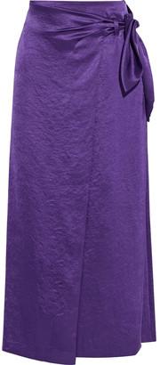 Nanushka Amas Crinkled Washed-satin Midi Wrap Skirt