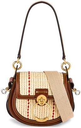 Chloé Small Tess Raffia Crossbody Bag in Sepia Brown | FWRD