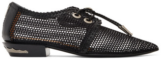Toga Pulla Black Mesh Lace-Up Loafers