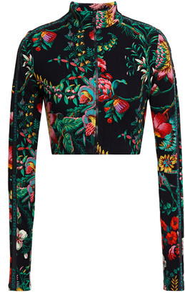 Paco Rabanne Cropped Monogram-trimmed Floral-print Stretch-jersey Rash Guard