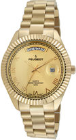 Peugeot Mens Coin-Edge Bezel Gold-Tone Stainless Steel Watch