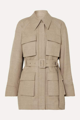 Low Classic Belted Melange Wool-blend Jacket - Beige