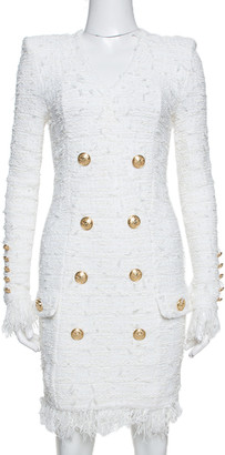 Balmain White Distressed Tweed Fringe Detail Fitted Dress S