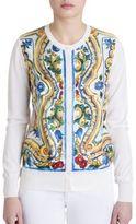 Dolce & Gabbana Tile-Print Silk Cardigan