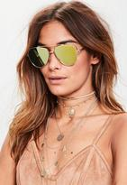 Missguided Gold Clean Cut Mirror Lenses Aviator Sunglasses, Gold