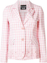 Moschino floral embroidered check blazer