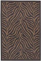"""Couristan Area Rug, Recife Indoor/Outdoor Zebra Black /Cocoa 8' 6"""" Round"""
