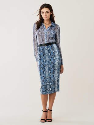 Diane von Furstenberg Lorelei Sheer Silk-Chiffon Collared Shirt