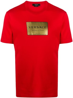 Versace logo-plaque print T-shirt