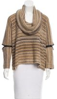 Yigal Azrouel Leather-Accented High-Low Sweater