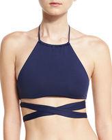 L Space Swimwear by Monica Wise Lizzie Halter Wrap Swim Top, Midnight Blue