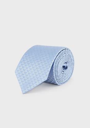 Emporio Armani Pure Silk Tie With Small Jacquard Eagles All Over