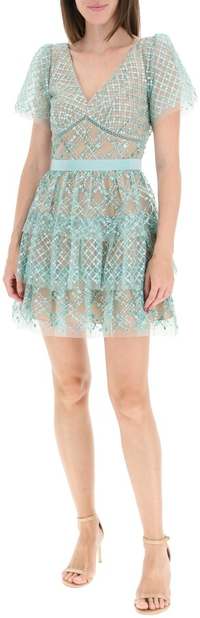Thumbnail for your product : Self-Portrait GRID SEQUIN TIERED MINI DRESS 8 Green