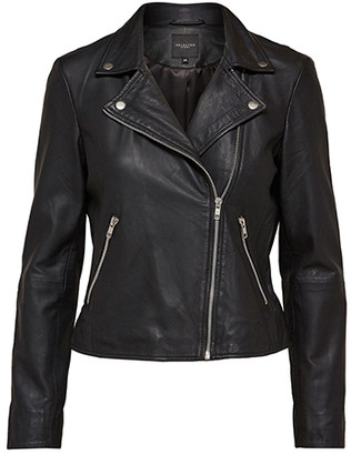 Selected Black Leather Sfmarlen Jacket - 34 - Black