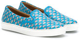 Salvatore Ferragamo Kids - elephant print slip-on sneakers - kids - Leather/Nappa Leather/rubber - 27