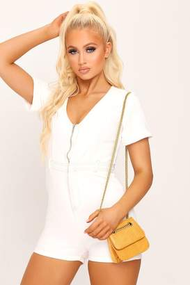 I SAW IT FIRST White Zip Front Denim Playsuit