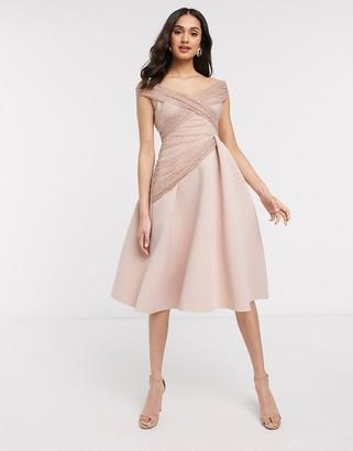 ASOS DESIGN off shoulder dobby midi prom dress in rose