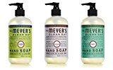 Mrs. Meyer's Hand Soap Variety Pack Lemon Verbena, Basil, Lavender 12.5 Fluid Ounce