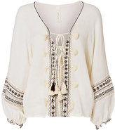 Cool Change coolchange Embroidered Lace-Up Caftan