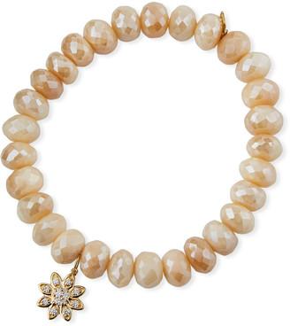 Sydney Evan 14k Diamond Flower & Cream Moonstone Bracelet