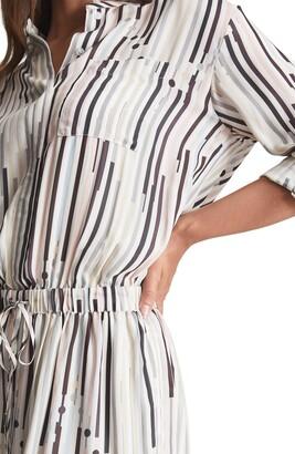 Reiss Erika Stripe Long Sleeve Shirtdress