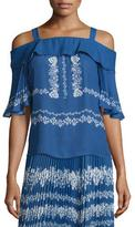 Self-Portrait Chiffon Flower Spell Cold-Shoulder Top, Cobalt Blue/Cream