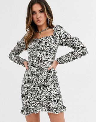 Love & Other Things square neck mini dress in brown leopard-Multi