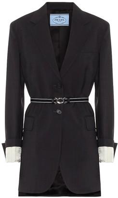 Prada Belted wool-twill blazer
