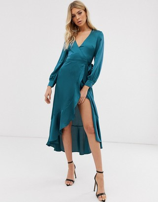 Club L London wrap satin high low dress