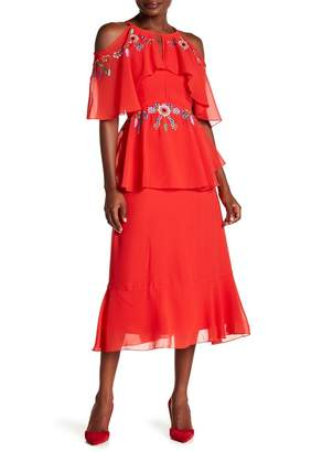 Nanette Lepore NANETTE Peplum Waist Maxi Dress
