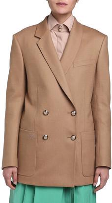 Fendi Birdseye Wool Double-Breasted Boyfriend Jacket
