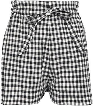 Paper London Curacao Gathered Gingham Cotton-blend Seersucker Shorts